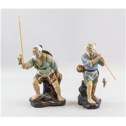 Chinese Pottery Old Fishing Men Statues Wanjiang