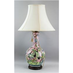 Chinese Famille Rose Porcelain Vase Lamp w/ Stand