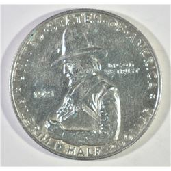 1921 PILGRIM COMMEM HALF DOLLAR, GEM BU