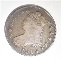 1818 BUST HALF DOLLAR, VF/XF