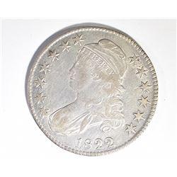 1822 BUST HALF DOLLAR, VF