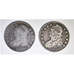 1828 VG & 1828 XF marks BUST HALF DOLLARS
