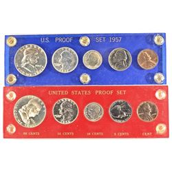 1956 & 57 U.S. PROOF SETS IN PLASTIC HOLDERS