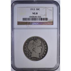 1913 BARBER HALF DOLLAR  NGC VG 8