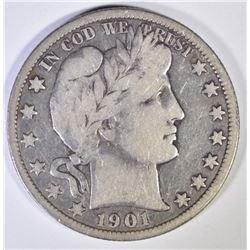 1901-O BARBER HALF DOLLAR  CHOICE FINE
