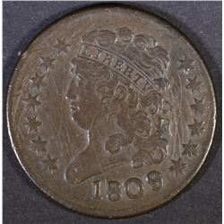 1809 HALF CENT VF/XF  SCRATCHED