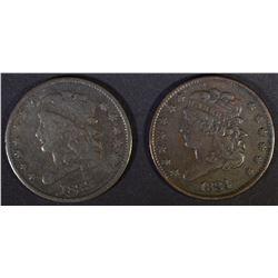 1833 F/VF & 1834 VF/XF HALF CENTS