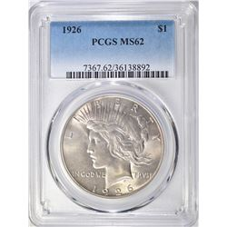 1926 PEACE DOLLAR  PCGS  MS62