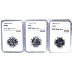 1965, 66 & 67 SMS WASHINGTON QUARTERS, NGC MS-68