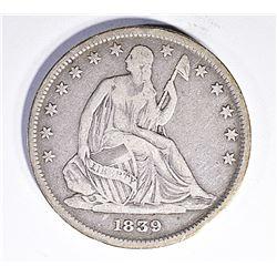 1839 SEATED HALF DOLLAR, VF