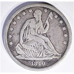 1840 SEATED HALF DOLLAR, FINE