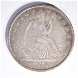 1840-O SEATED HALF DOLLAR, F/VF CRAZY DIE BREAKS R