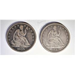 1844-O & 45-O F/VF BUST HALF DOLLARS
