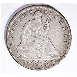 1854-O WITH ARROWS SEATED HALF DOLLAR, VF/XF