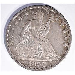 1856 SEATED HALF DOLLAR, AU PRETTY COLORS