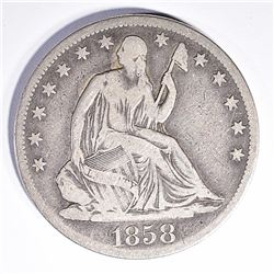 1858-S SEATED HALF DOLLAR, FINE