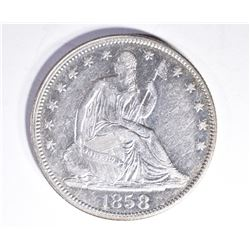 1858 SEATED HALF DOLLAR, AU