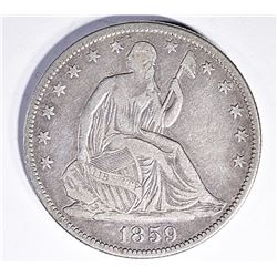 1859-O SEATED HALF DOLLAR, VF