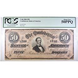 1864 $50 CONFEDERATE STATES OF AMERICA PCGS 50PPQ