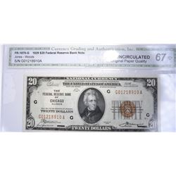 1929 $20 FEDERAL RESERVE BANK NOTE CGA GEM UNC OPQ