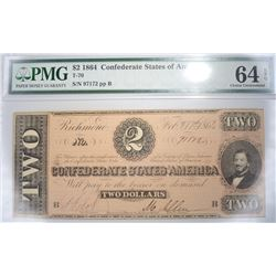1864 $2 CSA  PMG 64 EPQ CHOICE UNC.