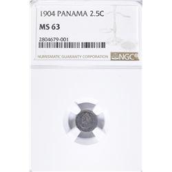 1904 SILVER 2 1/2 CENT PANAMA  NGC MS-63