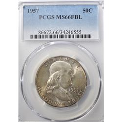 1957 FRANKLIN HALF DOLLAR  PCGS MS-66 FBL