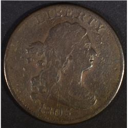 1805 HALF CENT  LARGE 5 STEMS  F+