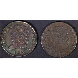 1825 & 26 HALF CENTS  VF