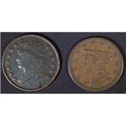 1835 VG & 1851 XF HALF CENTS