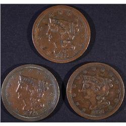 1854, 1855, 1856 HALF CENTS   XF/AU