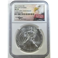 2016 AMERICAN SILVER EAGLE, NGC MS-70