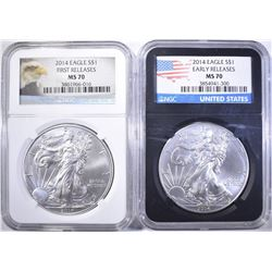 2-NGC GRADED MS-70 2014 AMERICAN SILVER EAGLES: