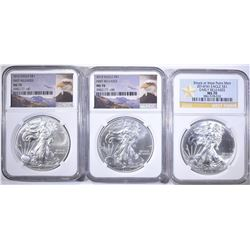 3-NGC GRADED MS-70 AMERICAN SILVER EAGLES