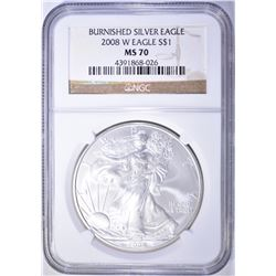 2008-W BURNISHED AMERICAN SILVER EAGLE NGC MS-70