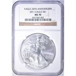 2011 AMERICAN SILVER EAGLE, NGC MS-70