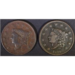 1831 & 1832 LARGE CENTS  VF/XF