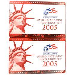 2-2005 U.S. SILVER PROOF SETS IN ORIG PACKAGING