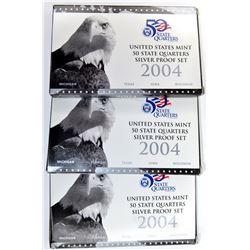 3-2004 SILVER U.S STATE QUARTER PROOF SETS