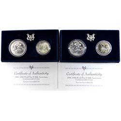 2-1993 WWII 2-COIN UNC COMMEM SETS