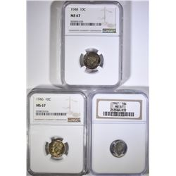 1946, 47, 48 ROOSEVELT DIMES NGC MS-67