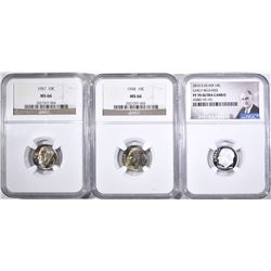 (3) COINS: 2016-S DIME NGC PF 70 ULTRA CAMEO