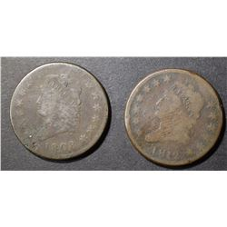 1808 & 1812 classic head large cents both good