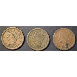 (2) 1848, (1) 1856 LARGE CENT  VF/VF+