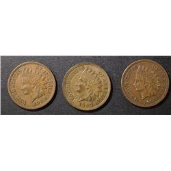 1907, 1908 & 1909 AU INDIAN CENTS