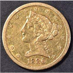 1880-CC $5 GOLD LIBERTY XF
