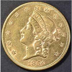1854 $20 GOLD LIBERTY AU/BU