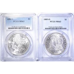 1880-S & 85-O MORGAN DOLLARS  PCGS MS-63