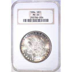 1884 MORGAN DOLLAR  NGC MS-65 COLOR