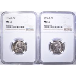 (2) 1950-D NICKELS NGC MS -66